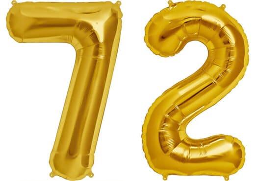 Luftballon Zahl 72 Zahlenballon gold (86 cm)