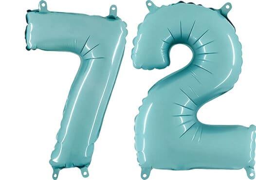 Luftballon Zahl 72 Zahlenballon pastell-blau (100 cm)