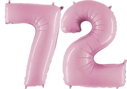 Luftballon Zahl 72 Zahlenballon pastell-pink (100 cm)