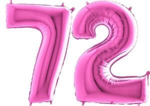 Luftballon Zahl 72 Zahlenballon pink (66 cm)