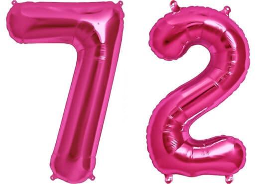 Luftballon Zahl 72 Zahlenballon pink (86 cm)