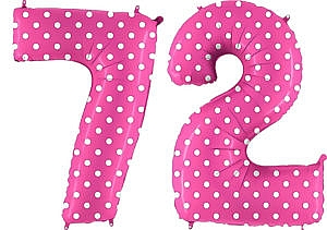 Luftballon Zahl 72 Zahlenballon pink mit weißen Punkten (100 cm)