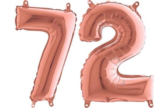 Luftballon Zahl 72 Zahlenballon rosegold (66 cm)