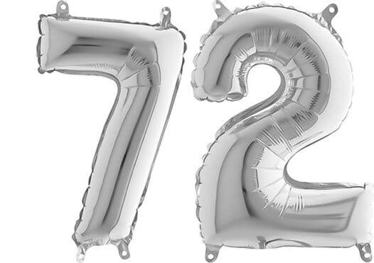 Luftballon Zahl 72 Zahlenballon silber (66 cm)