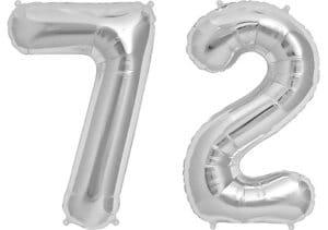 Luftballon Zahl 72 Zahlenballon silber (86 cm)
