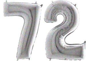 Luftballon Zahl 72 Zahlenballon silber-holographic (100 cm)