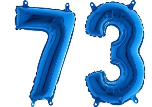 Luftballon Zahl 73 Zahlenballon blau (66 cm)