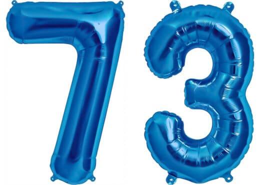 Luftballon Zahl 73 Zahlenballon blau (86 cm)