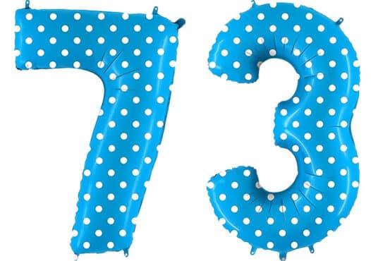Luftballon Zahl 73 Zahlenballon blau mit weißen Punkten (100 cm)