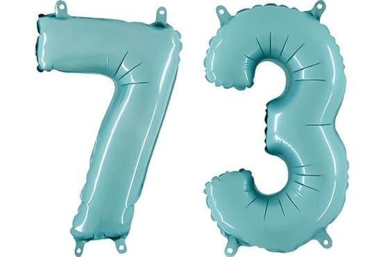 Luftballon Zahl 73 Zahlenballon pastell-blau (100 cm)