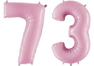 Luftballon Zahl 73 Zahlenballon pastell-pink (100 cm)