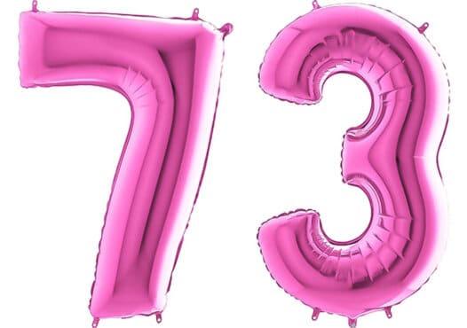 Luftballon Zahl 73 Zahlenballon pink (66 cm)
