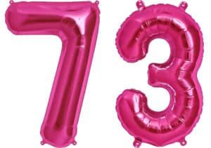 Luftballon Zahl 73 Zahlenballon pink (86 cm)