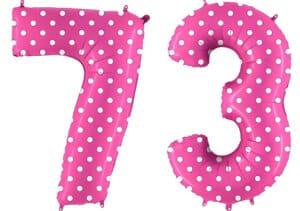Luftballon Zahl 73 Zahlenballon pink mit weißen Punkten (100 cm)