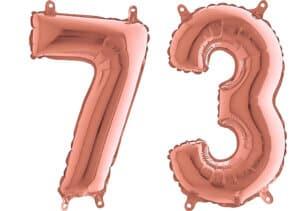 Luftballon Zahl 73 Zahlenballon rosegold (66 cm)
