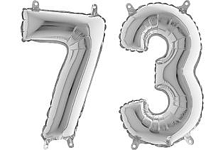 Luftballon Zahl 73 Zahlenballon silber (66 cm)