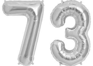 Luftballon Zahl 73 Zahlenballon silber (86 cm)