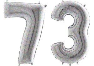 Luftballon Zahl 73 Zahlenballon silber-holographic (100 cm)