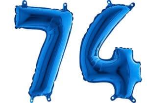 Luftballon Zahl 74 Zahlenballon blau (66 cm)