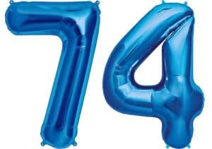 Luftballon Zahl 74 Zahlenballon blau (86 cm)