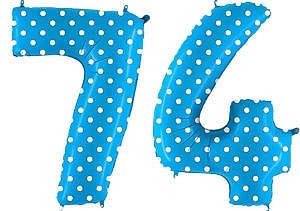 Luftballon Zahl 74 Zahlenballon blau mit weißen Punkten (100 cm)