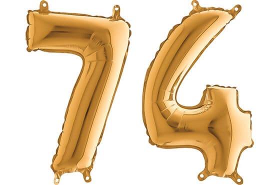 Luftballon Zahl 74 Zahlenballon gold (66 cm)