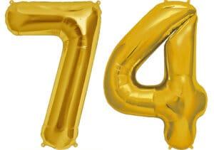Luftballon Zahl 74 Zahlenballon gold (86 cm)
