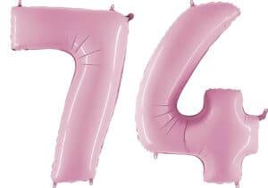 Luftballon Zahl 74 Zahlenballon pastell-pink (100 cm)