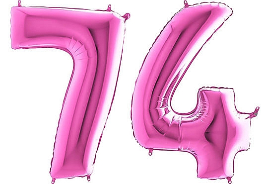 Luftballon Zahl 74 Zahlenballon pink (66 cm)