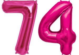 Luftballon Zahl 74 Zahlenballon pink (86 cm)