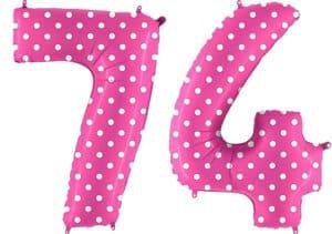 Luftballon Zahl 74 Zahlenballon pink mit weißen Punkten (100 cm)