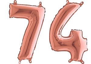 Luftballon Zahl 74 Zahlenballon rosegold (66 cm)