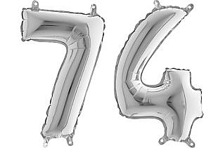 Luftballon Zahl 74 Zahlenballon silber (66 cm)