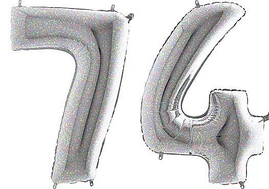 Luftballon Zahl 74 Zahlenballon silber-holographic (100 cm)