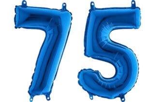 Luftballon Zahl 75 Zahlenballon blau (66 cm)
