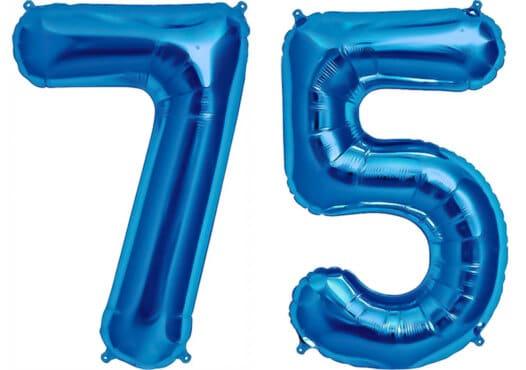 Luftballon Zahl 75 Zahlenballon blau (86 cm)