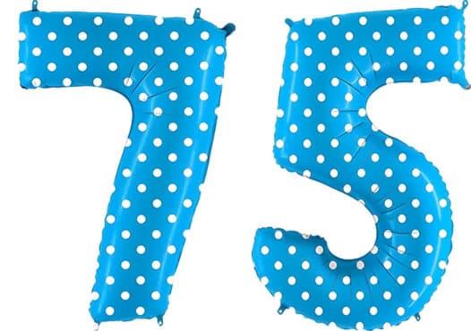 Luftballon Zahl 75 Zahlenballon blau mit weißen Punkten (100 cm)