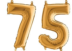 Luftballon Zahl 75 Zahlenballon gold (66 cm)