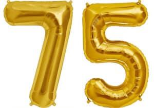 Luftballon Zahl 75 Zahlenballon gold (86 cm)