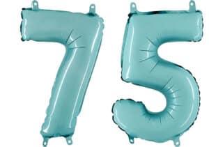 Luftballon Zahl 75 Zahlenballon pastell-blau (100 cm)