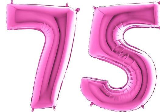 Luftballon Zahl 75 Zahlenballon pink (66 cm)