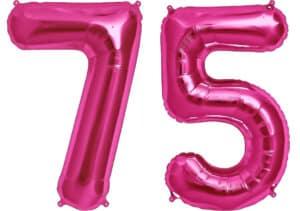 Luftballon Zahl 75 Zahlenballon pink (86 cm)