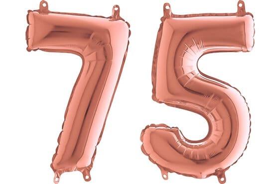Luftballon Zahl 75 Zahlenballon rosegold (66 cm)