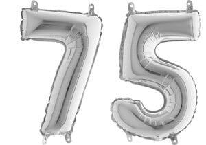 Luftballon Zahl 75 Zahlenballon silber (66 cm)