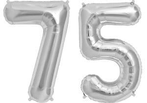 Luftballon Zahl 75 Zahlenballon silber (86 cm)