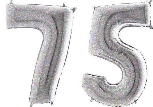 Luftballon Zahl 75 Zahlenballon silber-holographic (100 cm)