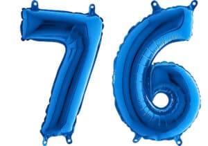 Luftballon Zahl 76 Zahlenballon blau (66 cm)