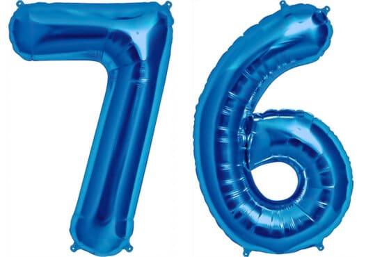 Luftballon Zahl 76 Zahlenballon blau (86 cm)