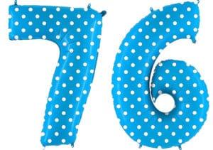 Luftballon Zahl 76 Zahlenballon blau mit weißen Punkten (100 cm)