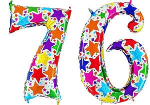 Luftballon Zahl 76 Zahlenballon silber mit bunten Sternen (100 cm)